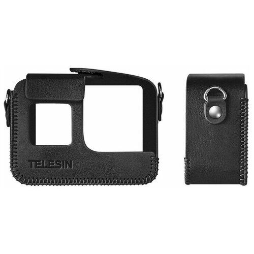 Фото - Telesin Кожаный чехол GoPro HERO8 с ремнем на шею Черный telesin защелка с двумя креплениями для камер и аксессуаров черный
