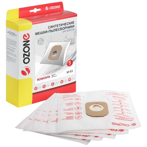 Мешки-пылесборники Ozone синтетические 5 шт для пылесоса TEFAL TW6861EA X-TREM POWER