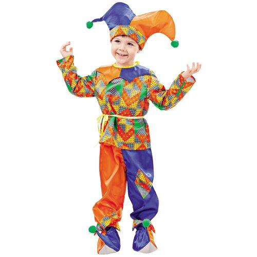 Фото - Костюм пуговка Петрушка (2002 к-18), оранжевый/фиолетовый/зеленый, размер 128 костюм пуговка кузнечик 2080 к 20 зеленый размер 128