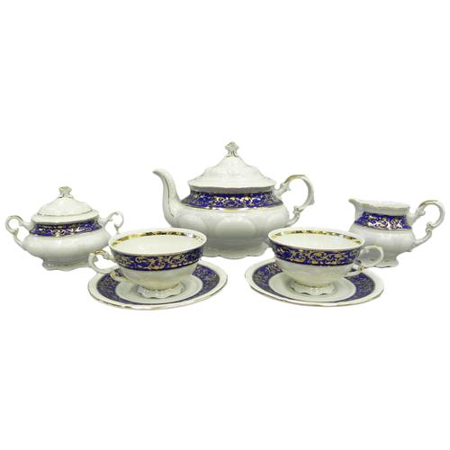 Сервиз чайный Соната Золотые узоры на синем, 15 пр., Leander