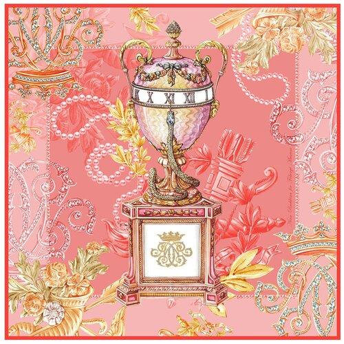 Платок Русские в моде by Nina Ruchkina Фаберже.Коронационное яйцо герцогини Мальборо розовый/золотистый