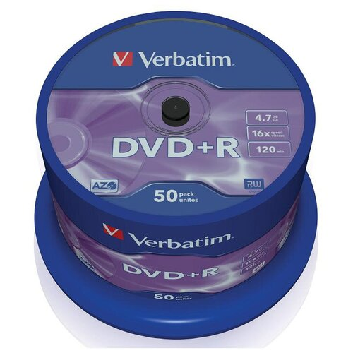 Фото - Оптический диск Verbatim DVD+R 4.7Gb 16x DLP Matt Silver 50шт CakeBox 43550 носители информации dvd r 16x verbatim azo matt silver cake 25 43500