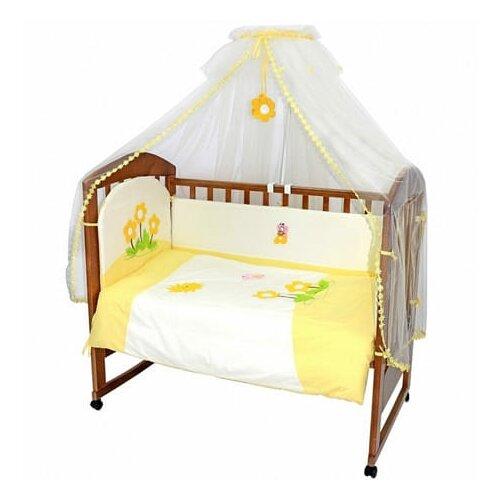 Купить Топотушки комплект в кроватку Полянка (7 предметов) желтый, Постельное белье и комплекты