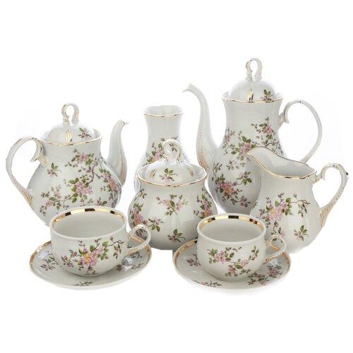 Чайный сервиз Дулёвский фарфор Аппетитный Цветение 083982, 6 персон, 29 предм., белый