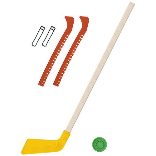 Набор зимний: Клюшка хоккейная жёлтая 80 см.+шайба + Чехлы для коньков оранжевые, Задира-плюс