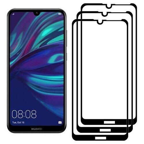 Комплект 2 стекла + 1 в подарок Full Glue Premium Krutoff для Huawei Y7 2019/Y7 Prime 2019/Y7 PRO 2019/Enjoy 9 черное