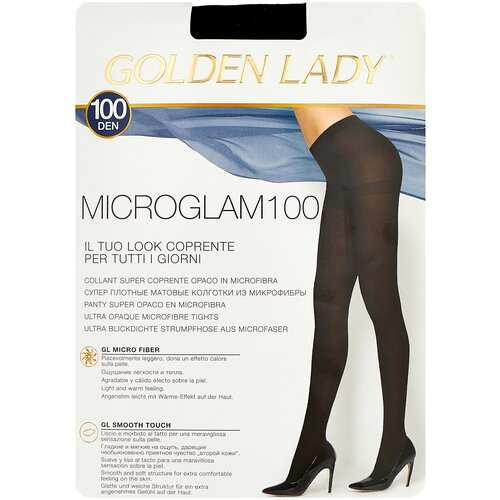 Колготки Golden Lady Microglam, 100 den, размер 4-L, nero (черный) колготки golden lady microglam 70 den размер 3 m nero черный
