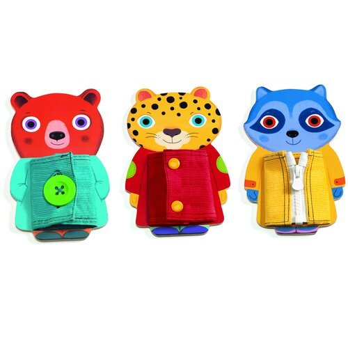 Купить Развивающая игрушка DJECO Застёжки Зипту, разноцветный, Развивающие игрушки