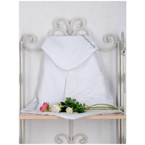 Одеяло для новорожденных Трия, велюр, 80х80 см, цвет: белый, отделка: ажурное кружево, декоративная тесьма