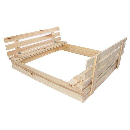 Greengo Песочница деревянная с крышкой-лавочкой, 100 × 100 × 18 см, сосна, Greengo