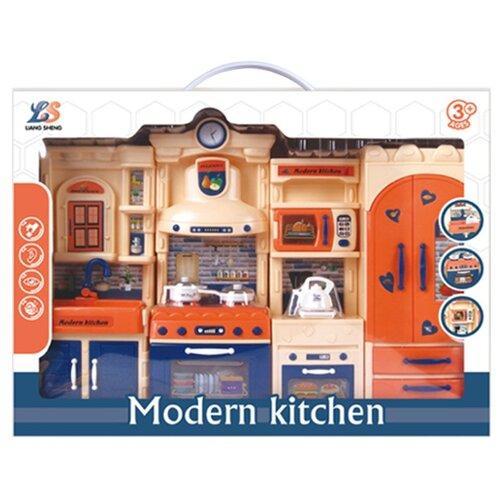 Купить Игровой набор Кухня , свет, звук, в компл. кухонный гарнитур, предм.25шт., эл. пит. ААх9шт. не вх. в компл. Shantoy Gepay LS324-21, Наша игрушка, Детские кухни и бытовая техника