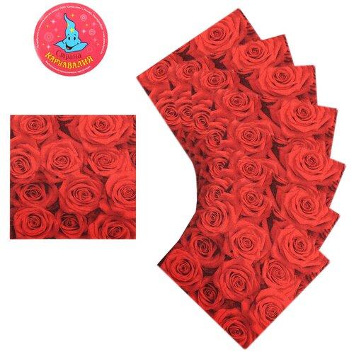 Салфетки бумажные Букет роз (набор 20 шт) 33*33 см 335458