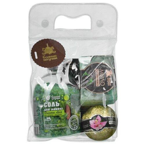Купить Подарочный набор 4 предмета (соль, мыло, бурлящий шар, глиняная маска) Банные штучки (41400)