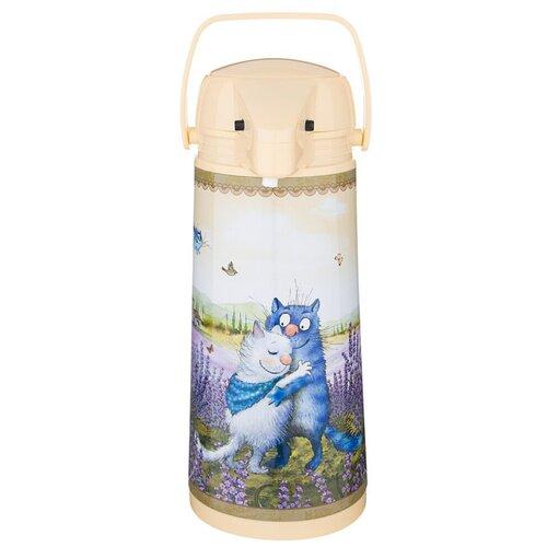 Помповый термос Agness Синие коты 910-672, 1.9 л бежевый