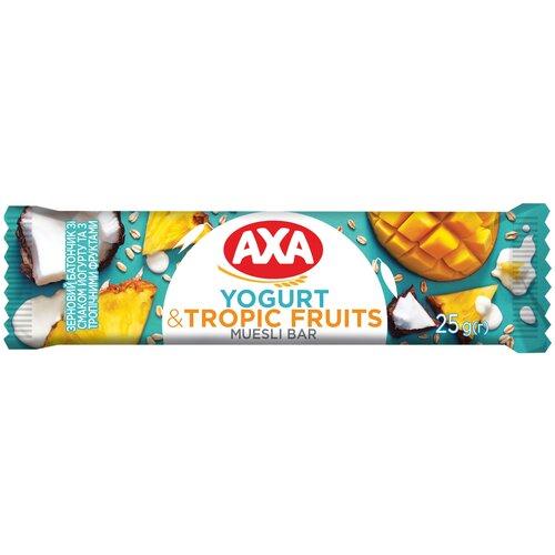 Фото - Злаковый батончик AXA с йогуртом и тропическими фруктами, 25 г мюсли axa muesli crispy хрустящие медовые хлопья и шарики с тропическими фруктами коробка 270 г