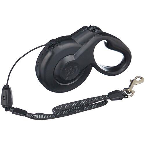 Поводок-рулетка для собак Fida Styleash тросовая (M) черный 5 м