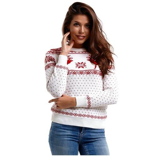 Женский свитер, классический скандинавский орнамент с Оленями и снежинками, натуральная шерсть, белый, красный цвет, размер XS