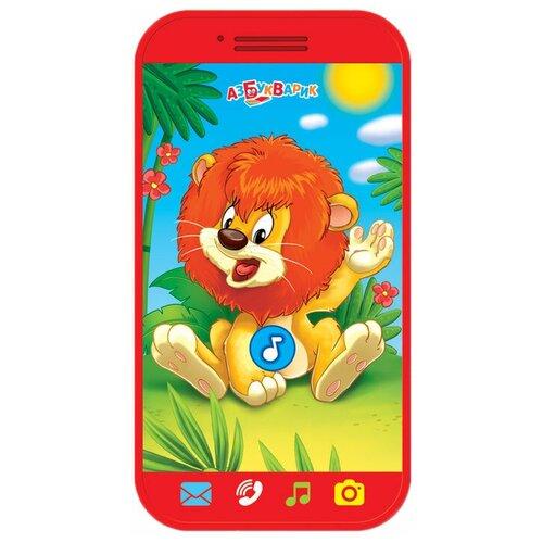Купить Интерактивная развивающая игрушка Азбукварик Мини-смартфончик Львёнок, красный, Развивающие игрушки