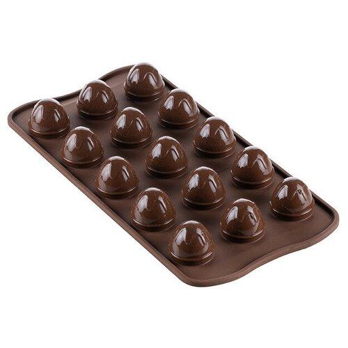 Форма для леденцов Silikomart Choco Drop, Шоко дроп, 15 ячеек SCG53, коричневый