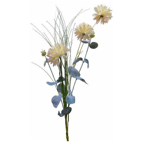 Элитные искусственные цветы ПОЛЕВЫЕ ГЕОРГИНЫ мерцающие, полиэстер, белые, 66 см, Kaemingk 220432