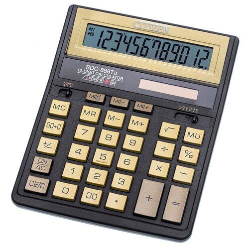 Калькулятор бухгалтерский CITIZEN SDC-888TII черный/золотистый