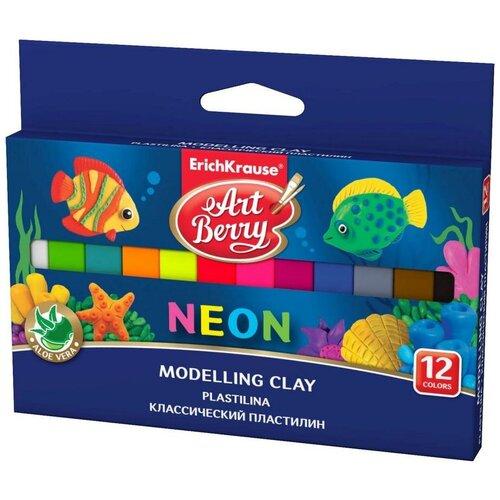 Купить Пластилин ErichKrause Artberry с Алоэ Вера Neon 12 цветов/180г (41766), Пластилин и масса для лепки