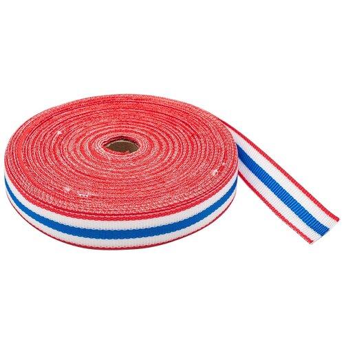 Купить С3824Г17 Стропа-30-5п рис.9492 30мм*25м (2 красный/белый/синий), Красная лента, Технические ленты и тесьма