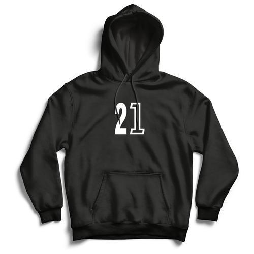 Толстовка ЕстьНюанс с принтом «21» черная, размер L