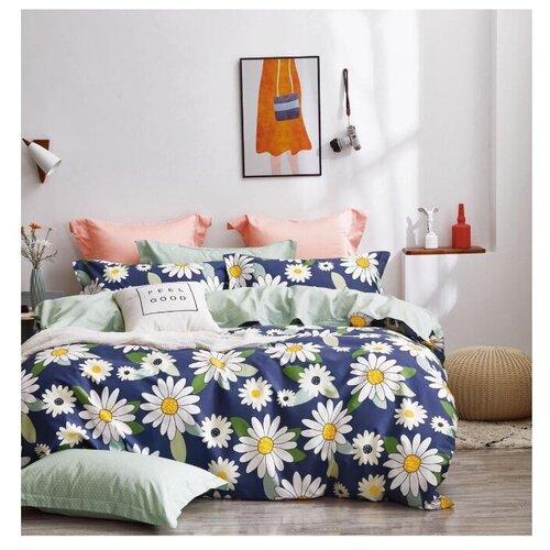 Постельное белье 2-спальное Tango TPIG2-1206-50, сатин, 50 х 70 см синий/белый