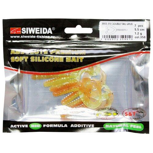 Набор приманок резина SIWEIDA Double Tail Grub твистер цв. 358 7 шт.