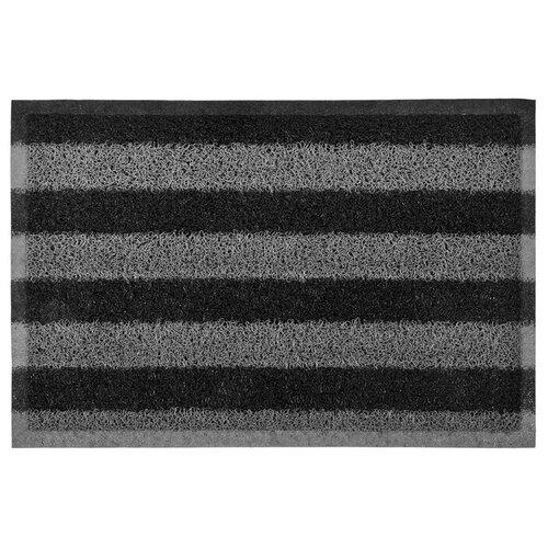 Придверный коврик VORTEX Полосы (22408), размер: 0.6х0.4 м, черный/серый коврик грязезащитный резиновый лапша vortex черно серый полосы 22408 40х60 см