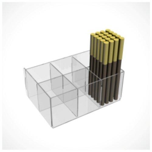 Купить Подставка для карандашей 6 ячеек, 110*160*70, оргстекло 1, 8, прозрачный 4850214, Сима-ленд, Канцелярские наборы