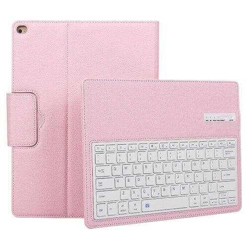 Клавиатура MyPads для Apple iPad Pro 10.5/ iPad Air 2019 съемная беспроводная Bluetooth в комплекте c кожаным чехлом и пластиковыми наклейками с русскими буквами