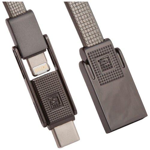 Кабель Remax Gplex USB - USB Type-C/Apple Lightning/microUSB (RC-070th) 1 м, черный кабель remax kerolla usb usb type c rc 094a 1 м черный