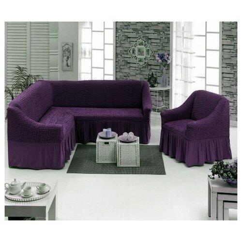 Угловой Чехол на Диван+Кресло, фиолетовый