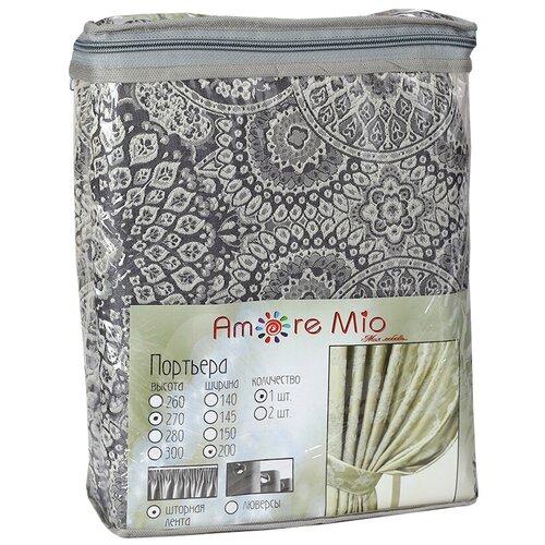 Портьеры Amore Mio RR 90021 на ленте 270 см серый портьеры amore mio rr h9936 на ленте 145х270 см серый