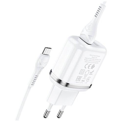 Фото - Сетевая зарядка Hoco N4 Aspiring + кабель micro-USB, белый сетевая зарядка hoco c11 кабель micro usb white белый