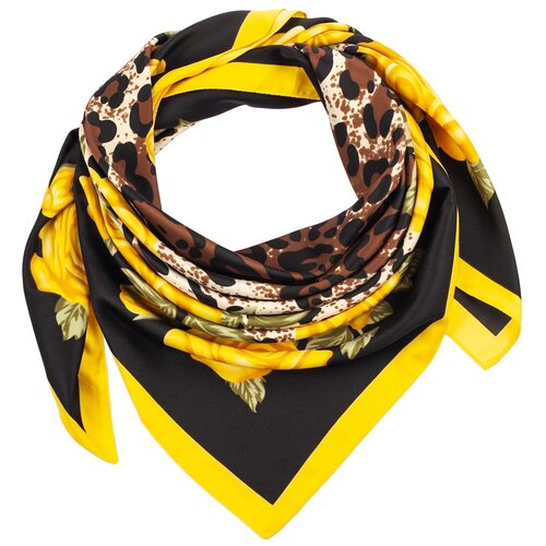 Шелковый платок на шею/Платок шелковый на голову/женский/Шейный шелковый платок/стильный/модный /21kdg85326-849a2vr черный,желтый/Vittorio Richi/100% шелк/90x90