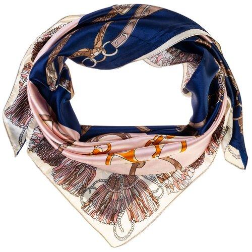 Шелковый платок на шею/Платок шелковый на голову/женский/Шейный шелковый платок/стильный/модный /21kdgPL902501-5vr розовый,синий/Vittorio Richi/80% шелк,20% полиэстер/90x90