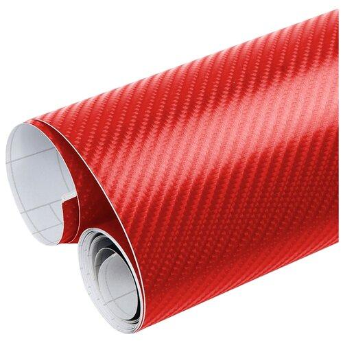 Пленка 3D карбон виниловая для оклейки кузова авто - 80*152 см, цвет: красный