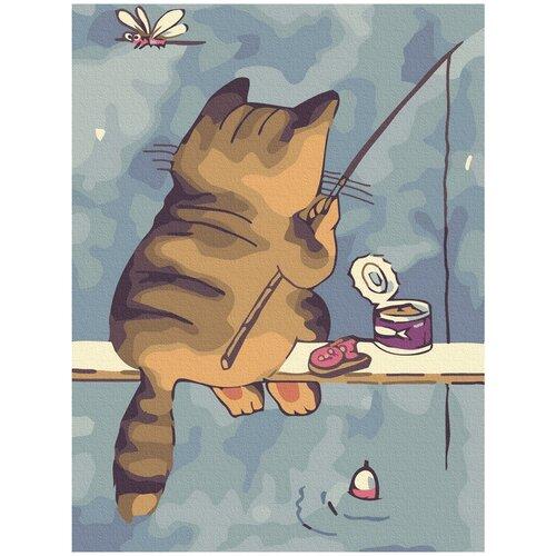 Купить Картина-открытка по номерам Molly 20х15 см Кот-рыбак, Картины по номерам и контурам