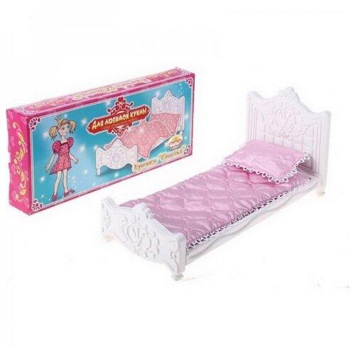Набор мебели для спальни Кровать Сонечка с постельным бельем (Для любимой куклы) 35,5х5х16,5 см.