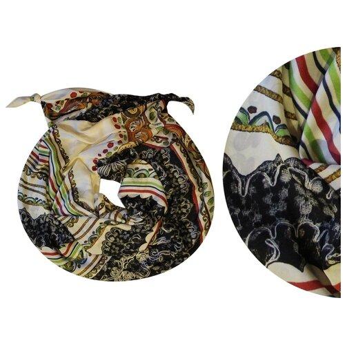 Двойной шарф-долька Оланж Ассорти серия Апрель с узелками белый dolka-шелк-z-143