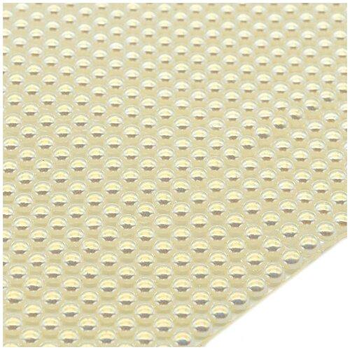 4AR018 Полотно из жемчужных полубусин 4мм термоклеевое, цв. белый АВ, 30*25см