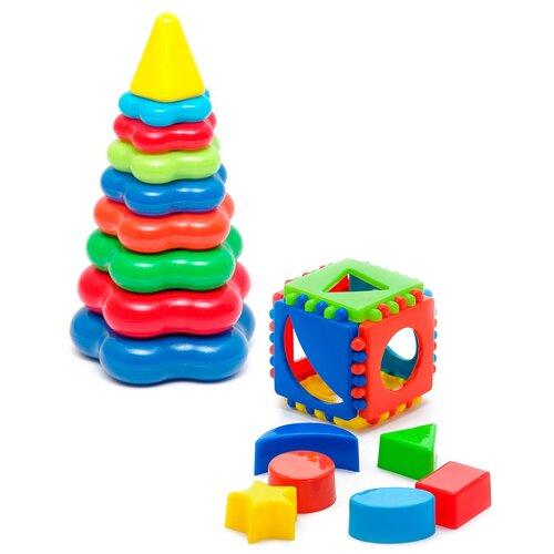 Купить Набор развивающий: Кубик логический малый + Пирамида детская большая KAROLINA TOYS, Пирамидки