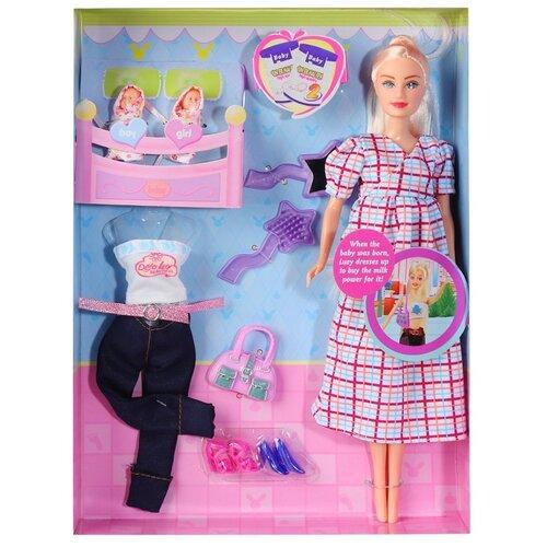 Купить Кукла детская для девочек Defa , Кукла беременная, 2 куклы-младенца, аксессуары, в/к 23.5*6*32.5см, Куклы и пупсы
