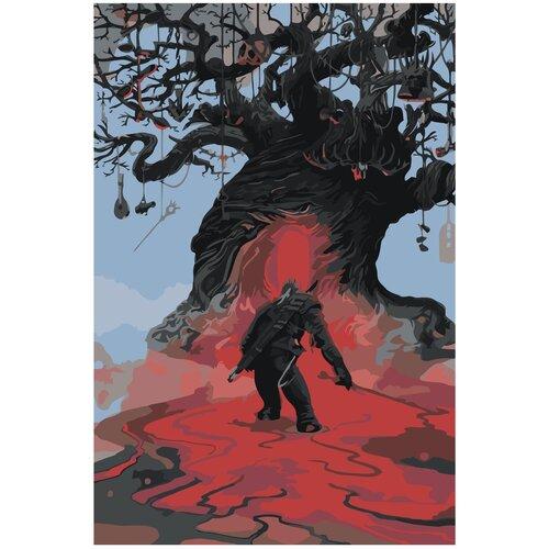 Купить Ведьмак у дерева Раскраска картина по номерам на холсте Z-NA15 40х60, Живопись по номерам, Картины по номерам и контурам