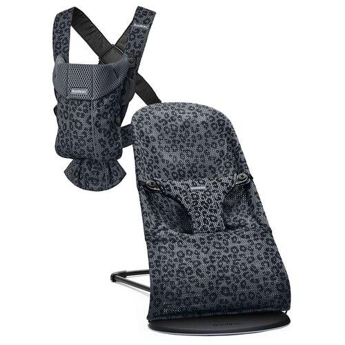 Фото - BabyBjorn Кресло-шезлонг Bliss Mesh + рюкзак MINI, цвет: леопард антрацит /леопард антрацит эргорюкзак babybjorn move mesh navy blue