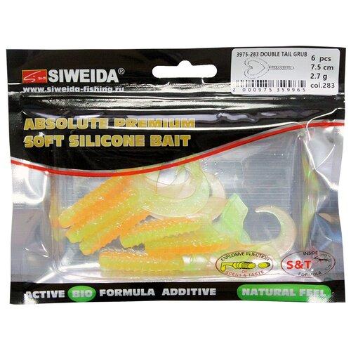 Набор приманок резина SIWEIDA твистер Double Tail Grub цв. 283 6 шт.