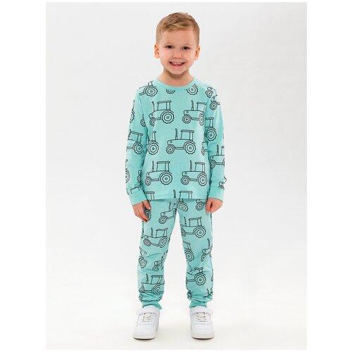 Купить Пижама детская, набивка трактор, цвет ментоловый, размер 104, Roxy Foxy, Домашняя одежда